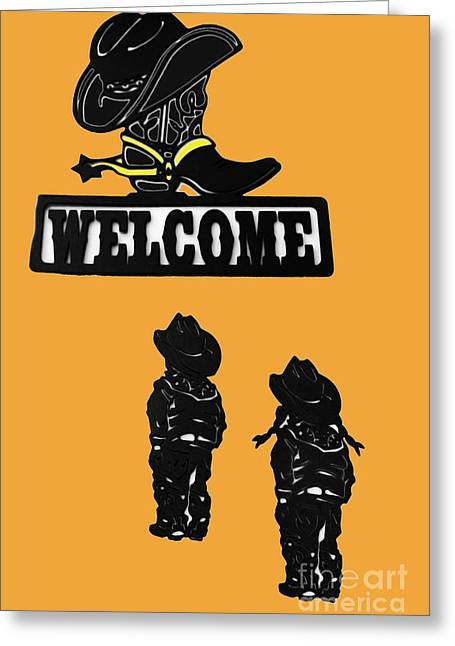 Painted Sculpture Greeting Cards - Western Welcome II Greeting Card by Al Bourassa
