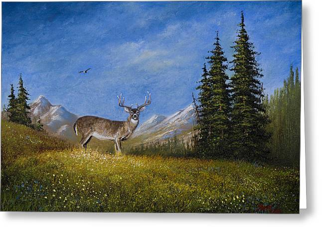 Bob Ross Paintings Greeting Cards - Western Whitetail Greeting Card by C Steele