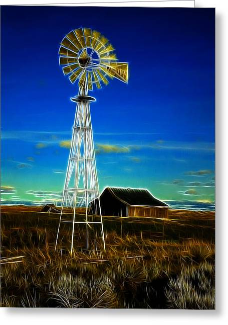 Kinkade Greeting Cards - Western Windmill Greeting Card by Steve McKinzie