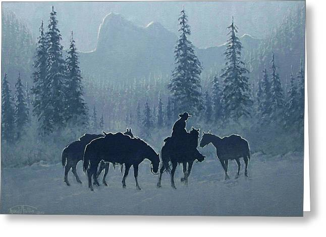 4 Corners Greeting Cards - Western Winter Greeting Card by Randy Follis
