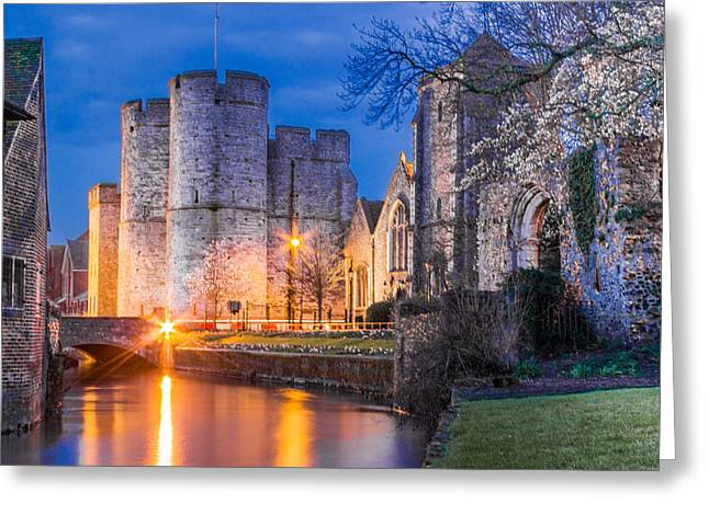 Public Garden Greeting Cards - Westgate Towers at night Greeting Card by Ian Hufton