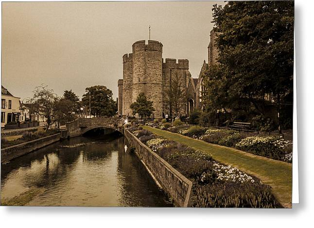 Punting Greeting Cards - Westgate Towers.  Greeting Card by Ian Hufton