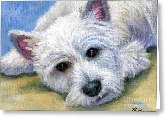 Westie Greeting Cards - Westie Greeting Card by Hope Lane
