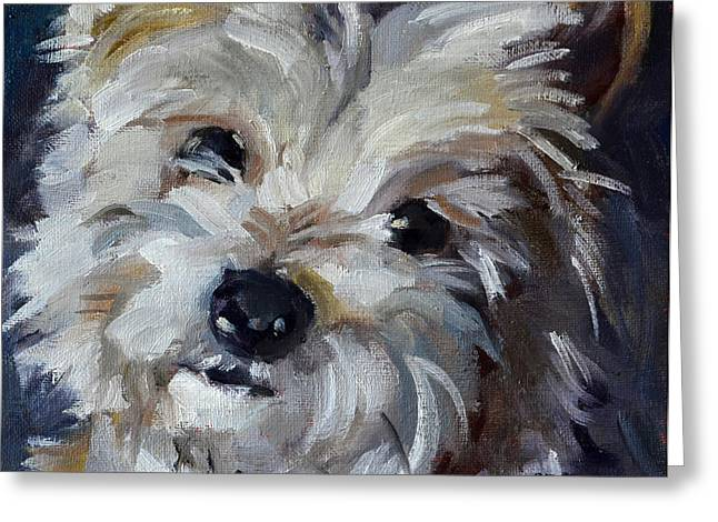Toy Dogs Paintings Greeting Cards - Westie Mix Greeting Card by Pattie Wall