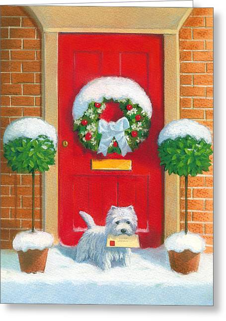 Christmas Doors Greeting Cards - Westie Post Greeting Card by David Price