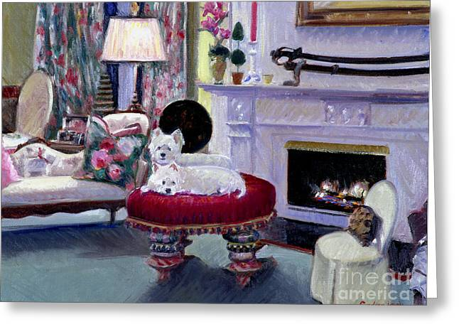 Leg Lamp Greeting Cards - Westies in Repose Greeting Card by Candace Lovely