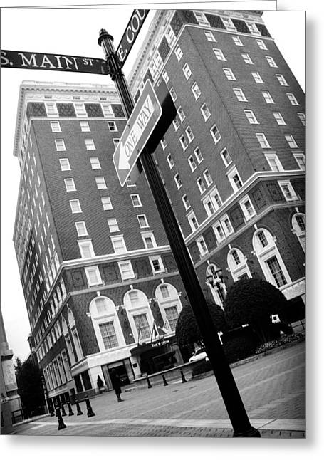 Streetview Greeting Cards - Westin Poinsett Behind S.Main and E.Court Greeting Card by Kelly Hazel