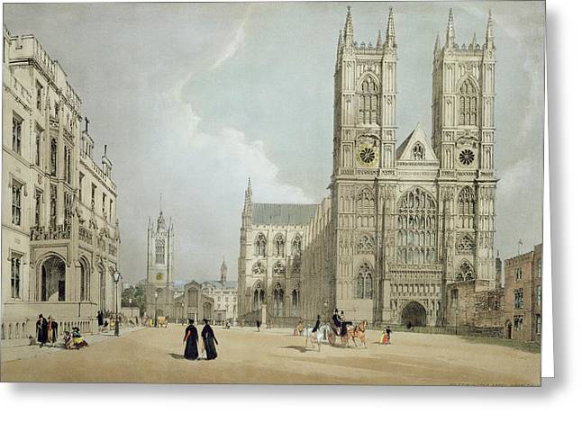 Medieval Architecture Greeting Cards - Westminster Abbey And Hospital Greeting Card by Thomas Shotter Boys