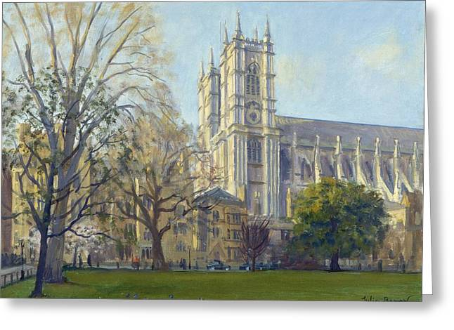 Urban Landscape Greeting Cards - Westminster Abbey From Deans Yard Oil On Canvas Greeting Card by Julian Barrow