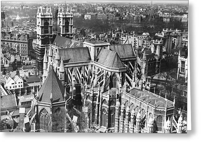 Westminster Abbey In London Greeting Card by Underwood Archives