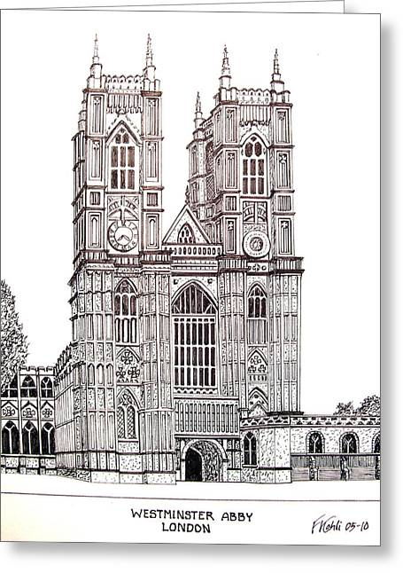 Best Sellers -  - Pen And Ink Drawing Greeting Cards - Westminster Abby - London Greeting Card by Frederic Kohli