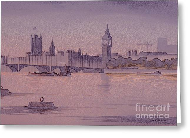Soft Clocks Greeting Cards - Westminster And Big Ben 1 Greeting Card by Bill Holkham