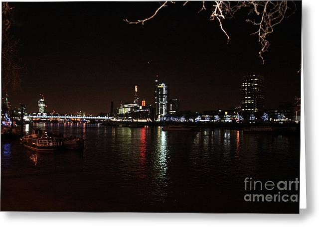 Owner Greeting Cards - Westminster At Night Along The Thames River Greeting Card by Michael Braham