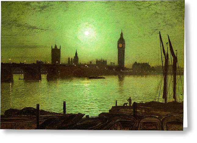 Moonlight On The River Greeting Cards - Westminster Bridge and Big Ben by Moonlight  Greeting Card by John Atkinson Grimshaw