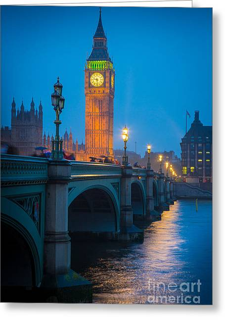 Evening Lights Greeting Cards - Westminster Bridge at Night Greeting Card by Inge Johnsson