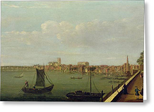 River Thames Greeting Cards - Westminster Bridge From The Terrace Of Somerset House Oil On Canvas Greeting Card by Francis Smith