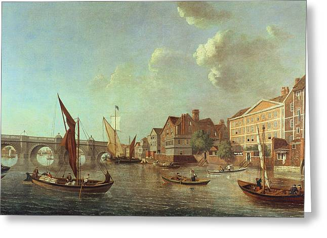 River Thames Greeting Cards - Westminster Bridge Looking Up The River, C.1749 Oil On Canvas Greeting Card by Samuel Scott