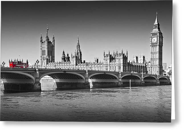 Colorkey Greeting Cards - Westminster Bridge Greeting Card by Melanie Viola