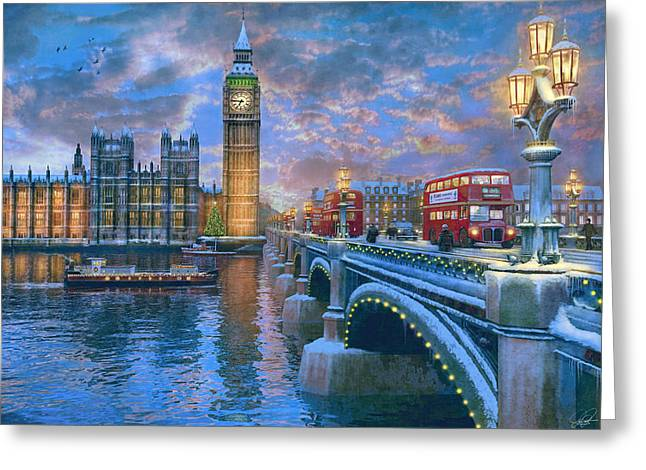Westminster Christmas Greeting Card by Dominic Davison