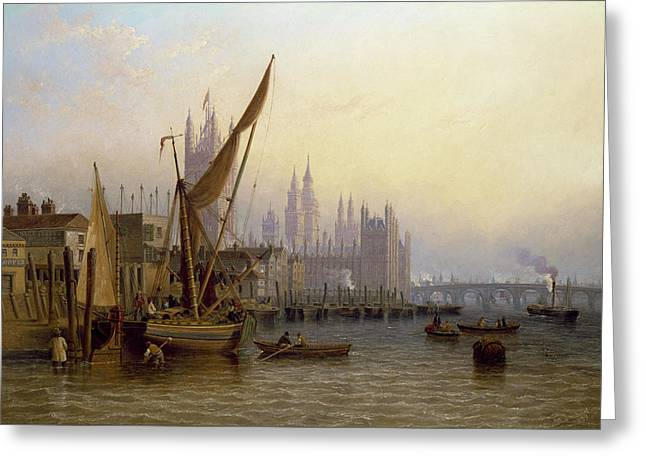Thames Greeting Cards - Westminster Greeting Card by John Wilson Carmichael