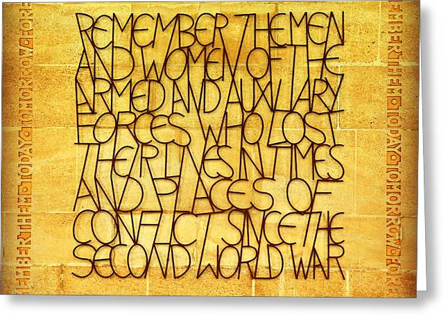Second Gulf War Greeting Cards - Westminster Military Memorial Greeting Card by Stephen Stookey