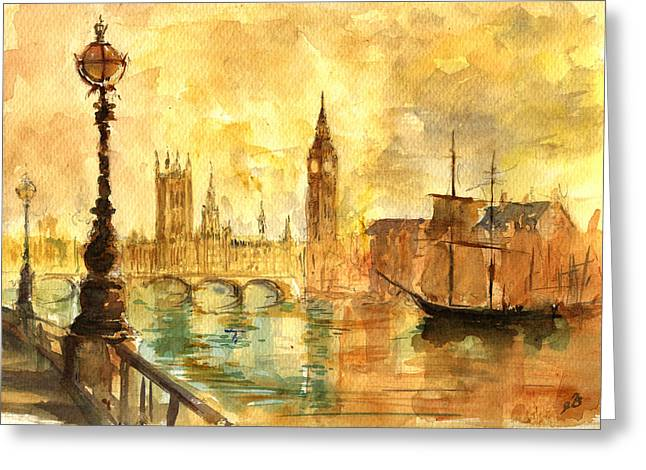 Palace Greeting Cards - Westminster palace London Thames Greeting Card by Juan  Bosco