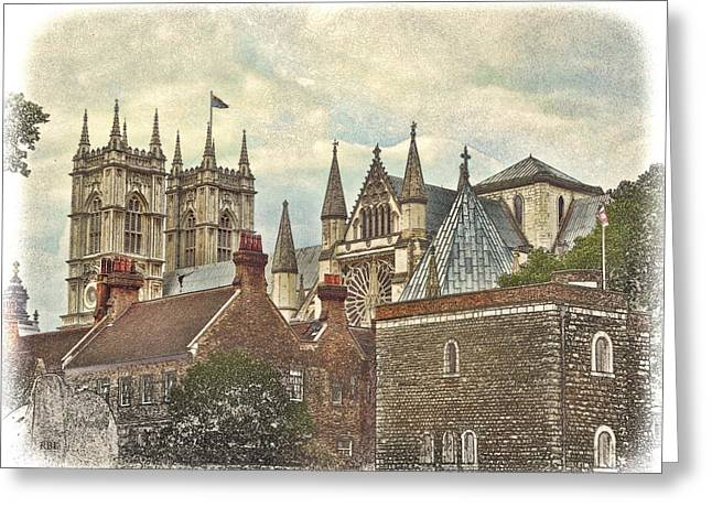 Weathervane Digital Art Greeting Cards - Westminster Skyline Greeting Card by Rick Lloyd