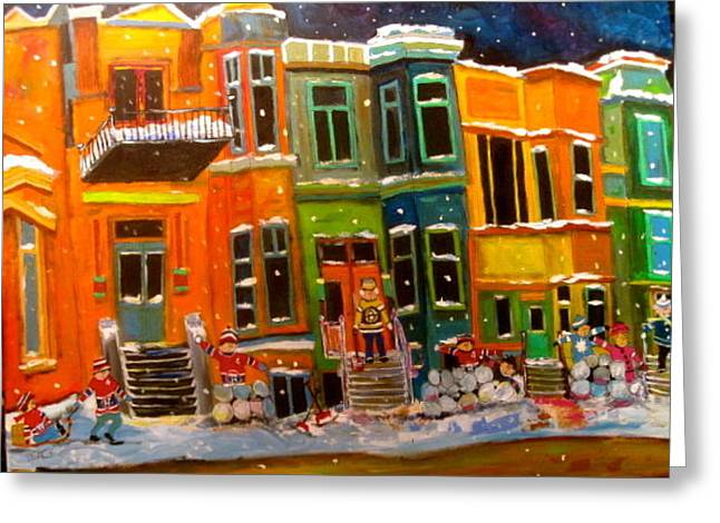 Litvack Greeting Cards - Westmount Row Houses Montreal Memories Greeting Card by Michael Litvack