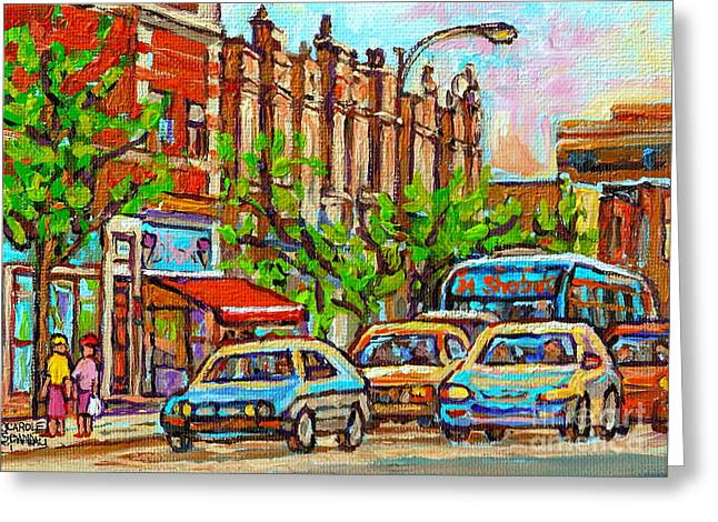 Sorbet Greeting Cards - Westmount Street Scene Paintings - Bilboquet Ice Cream - Sherbrooke Street West - Montreal City Art Greeting Card by Carole Spandau