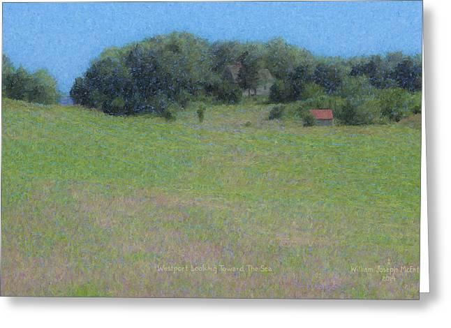 Mcentee Paintings Greeting Cards - Westport Meadow Toward The Sea Greeting Card by Bill McEntee