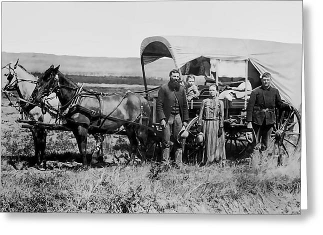 Westward Family In Covered Wagon C. 1886 Greeting Card by Daniel Hagerman