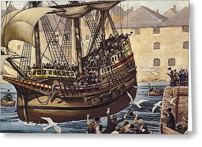 Westward Greeting Cards - Westward Ho!  The Mayflower Leaves Plymouth Ho On 16 September 1620 Colour Litho Greeting Card by Mike White