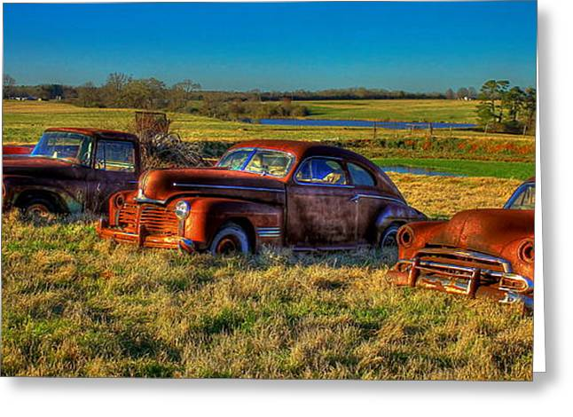 Rusted Cars Greeting Cards - Westward Line Up 2 Greeting Card by Reid Callaway