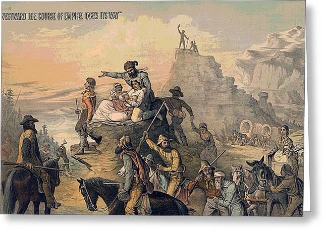 Westward Greeting Cards - Westward The Course of Empire Takes It Way Greeting Card by Unknown
