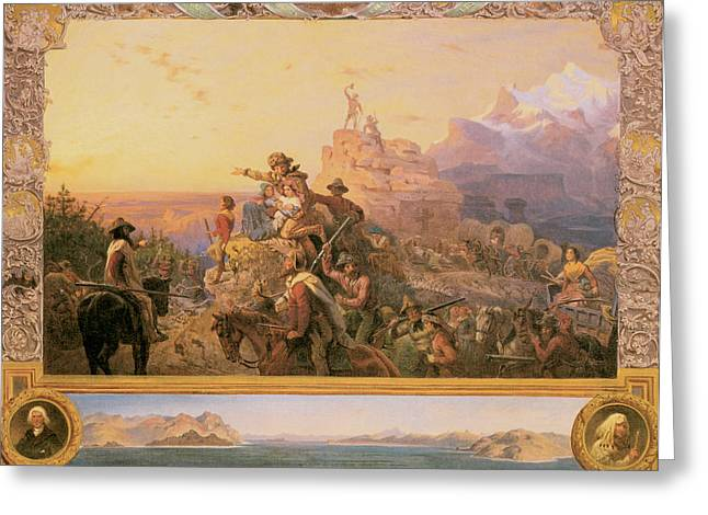 Westward Greeting Cards - Westward the Course of Empire Takes Its Way Greeting Card by Emanuel Gottlieb Leutze