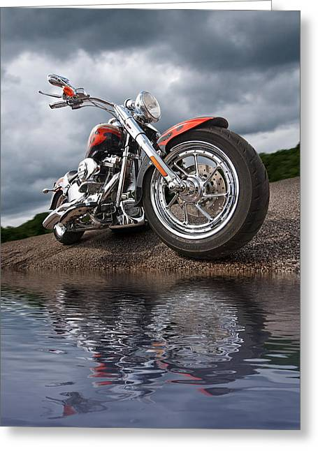 Red Hog Greeting Cards - Wet and Wild - Harley Screamin Eagle Reflection Greeting Card by Gill Billington