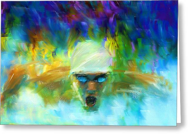 Swimmers Digital Greeting Cards - Wet And Wild Greeting Card by Lourry Legarde