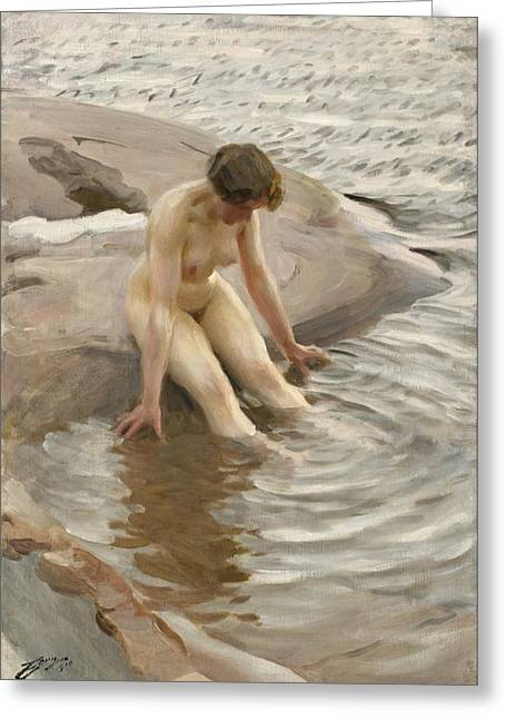 Lady In Lake Greeting Cards - Wet Greeting Card by Anders Zorn
