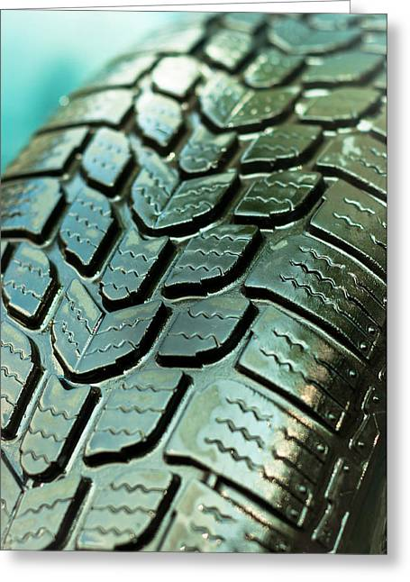 Gear Pyrography Greeting Cards - Wet car tire texture in green and blue colors Greeting Card by Oliver Sved