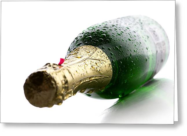 Water Drop Greeting Cards - Wet Champagne bottle Greeting Card by Johan Swanepoel