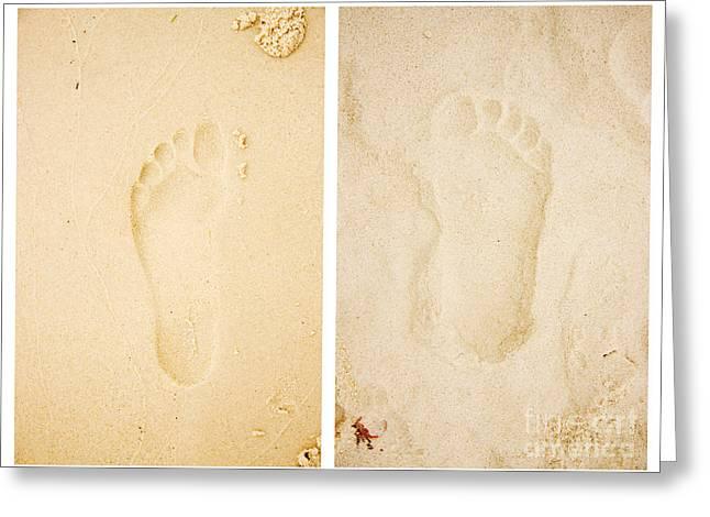 Pacific Ocean Prints Greeting Cards - Wet Dry Footprints Greeting Card by Ryan Jorgensen
