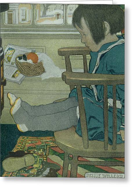 Warming Greeting Cards - Wet Feet, 1902 Greeting Card by Jessie Willcox Smith