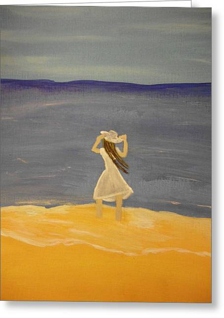 Recently Sold -  - Woman In A Dress Greeting Cards - Wet Feet Greeting Card by Erica  Darknell