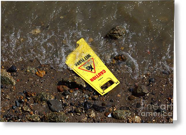 Wet Floor Greeting Cards - Wet Floor Alert Greeting Card by James Brunker