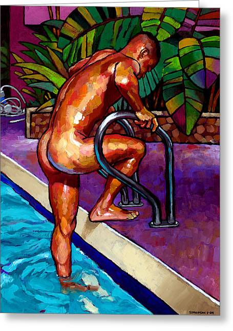 Naked Men Greeting Cards - Wet from the Pool Greeting Card by Douglas Simonson