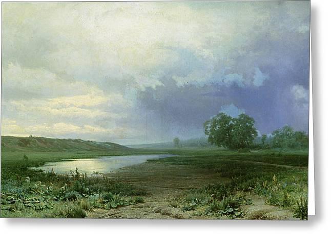 Wet Meadow Greeting Card by Fedor Aleksandrovich Vasiliev