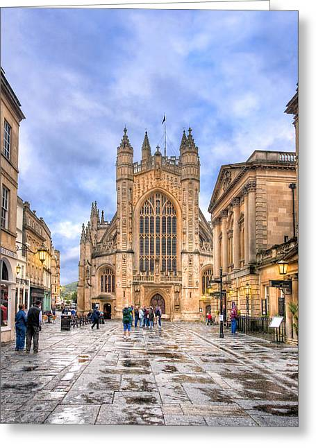 Wet Morning At Bath Abbey Greeting Card by Mark E Tisdale