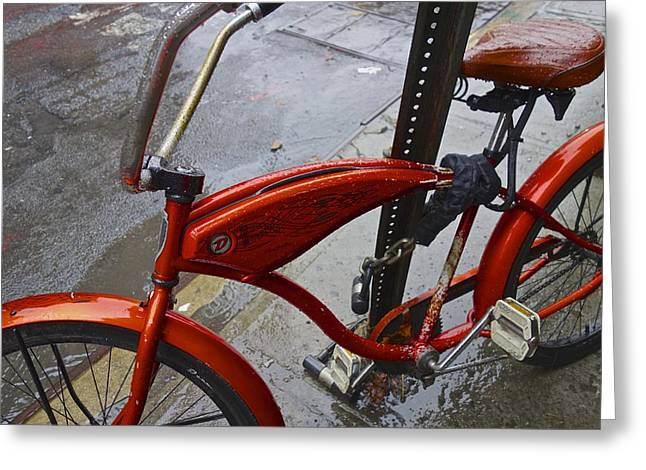 Puddle Paint Greeting Cards - Wet Orange Bike   NYC Greeting Card by Joan Reese