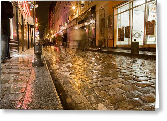 Paris In Lights Greeting Cards - Wet Paris Street Greeting Card by Matthew Bamberg
