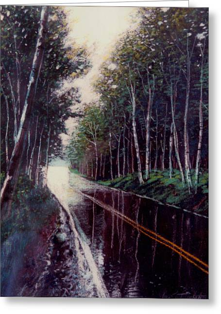 Highway Drawings Greeting Cards - Wet Pavement Greeting Card by John Lautermilch